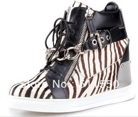 New Autumn and Winter Giuseppe Wedges Casual Shoes Metal Chain Height Increased Zebra Cowskin Ankle Boots GZ Sneakers