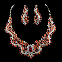 New Arrival Red Rhinestone Women Pageant Show Jewelry Sets,Festival Necklace & Earrings Gifts For Lover and Mother