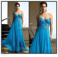 2014 Fashion Catch Beads One Shoulder Is Trailing Chiffon Long Dress Is The Best Dress For Women Aged 25 To 30 Free Shipping
