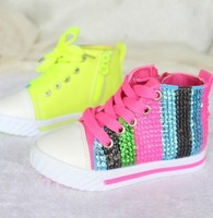 2014 New Arrival Girls Casual Shoes Fashion Rainbow Sequins Lace-up Soft Shoes Childrens Anti-slip Shoes