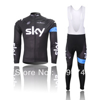 Hot sale!2014 new SKY black Cycling long sleeve Jersey bike clothing and bib pants/pants spring/autumn GEL PAD A-03 Size XS-4XL