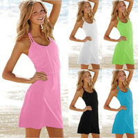 2014 Occident Women Seaside Beach Dress Fashion sexy Halter-neck One-piece Dress Bikini Large Size Outside smock  11 Colors
