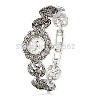 Wristwatches Retro Silver Black Round Dial with Crystal Rhinestone Women Lady Alloy Quartz Wrist Watch Fashion Brace Lace Gift