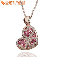 Female all-match fashion full crystal rhinestone cutout heart necklace sweater pendant  Free shipping
