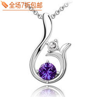Female brief fashion all-match lily bling crystal zirconium diamond necklace sweater pendant  Free shipping