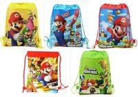 in stocking 1pcsFree shipping Mario Cartoon Drawstring Backpack Bag ,Children Kids Bag 34X27CM,schoobag,part gift
