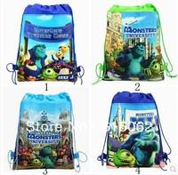 Free shipping 20pcs/LOT Monsters University Cartoon Drawstring Backpack Bag ,Children Kids Bag 34X27CM,schoobag,party gift