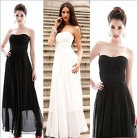 Fashion chiffon slim bridesmaid ultra long skirt banquet sleeveless tube top racerback evening dress one-piece dress