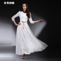 2013 autumn dress royal luxury beading stand collar ladies elegant ultra white lace long dress one-piece dress