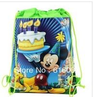 stocking 20pcs/LOT Free shipping mickey mouse Cartoon Drawstring Backpack Bag ,Children Kids Bag 34X27CM,schoobag,party gift