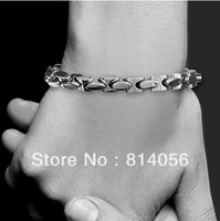 FREE SHIPPING NEW Stainless Steel fashion Men's 9mm WEIGHT jie yang Byzantine chain Bracelets Silver chain