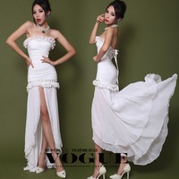 2013 autumn and winter fashion low-high racerback full dress small dress formal dress one-piece dress wedding