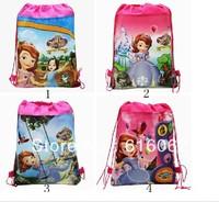 Free shipping 1pcs/LOT sofia the first Cartoon Drawstring Backpack Bag ,Children Kids Bag 34X27CM,schoobag,party gift