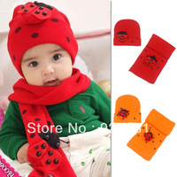 Korea New Autumn & Winter Baby Knitted Hat+Scarf Set Beatles Child Hats Scarfs 8M-3Y Old Boys Girls Red Orange Free Shipping
