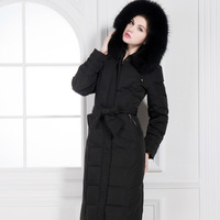 Fashion high quality large fur collar long thick lengthen ultra plus size slim long design over-the-knee down coat female