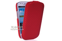 GETLAST Luxury Fashion Cool Carbon Fibre Style Flip Leather Hard Back Case Cover + Screen Protector For  Samsung  I8190
