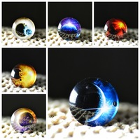 10pcs  25mm Charm galaxy The Milky Way Pattern Round Glass Dome Cabochon Flat Back Embellishments