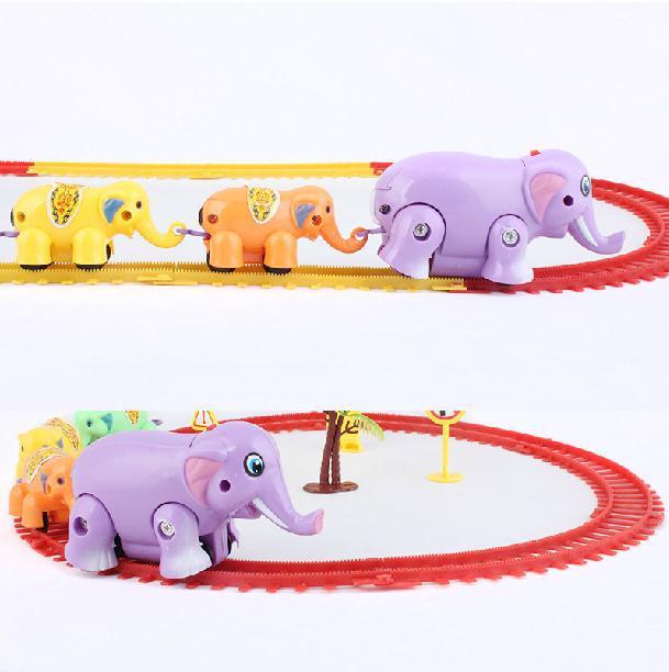 Itemship -Children Puzzle electric rail assembling toys - Thomas Track Elephant Set(China (Mainland))