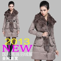 Million dollar bill fashion fox fur female medium-long high quality down coat c13051