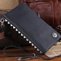 2014 New Rivets Genuine Leather Men Wallets With Handle Studs Cowskin Clutch Wallet Punk Money Clip Zipper TBG0097