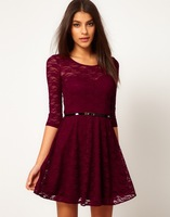 Women's casual dress 2014 new European and American women's candy-colored big swing lace dress with belt