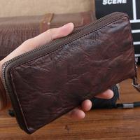 Genuine Leather New 2014 Men Wallets Brand Vintage Goatskin Handle Wallet Classic Money Clip Zipper  Purse Carterira TBT0095