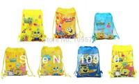factory price Free shipping 4pcs/lot Spongebob Cartoon Bag-woven fabrics Kid's School bag 34X27CM,party gift