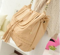 Knitted 2013 women's bohemia tassel bucket bag shoulder bag casual yellow women's handbag bag