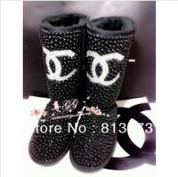 2013 winter women Snow boots waterproof genuine leather boots brand fashion rhinestone shoes australian sheepskin boots