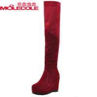 2013 winter boots elastic knee-length boots female boots wedges high-heeled fashion boots all-match women's shoes