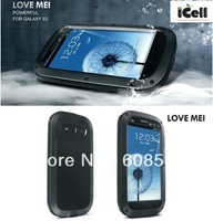 Original LOVE MEI Powerful Shockproof Dirtproof Waterproof Metal Case For Samsung Galaxy S3 i9300 ,DHLfreeshipping 30pcs/lot