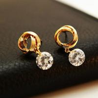 South Korean high-grade earrings zircon earrings allergy free color preserving han edition earrings