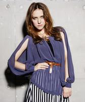 HOT! summer new Korean long-sleeved chiffon shirt exposed hollow arm ladies fashion chiffon blouse shirt ,free shipping