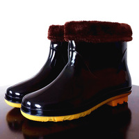 Rain boots intercropping fishing shoes Men water shoes rainboots slip-resistant rain shoes knee-high waterproof shoes cow muscle