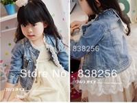 Girls fashion lace long-sleeved jacket denim jacket girls coat children outerwear Children's cloth autumn princess baby cardigan