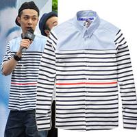 Junya watanabe man trend of the patchwork stripe long-sleeve shirt male shirt