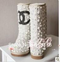 2013 winter women Snow boots genuine leather boots brand luxury rhinestone shoes waterproof australian sheepskin boots
