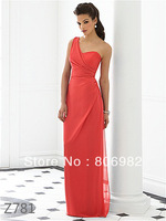 Sexy Watermelon One-Shoulder Bridesmaid Dresses Formal Prom Dresses(Z781) Size 2 4 6 8 10 12 14 16 +,