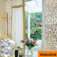 Width45cm*Coil,Thicken Static Cling Glass Films Windows Stickers Etched Oval Stone Window Films