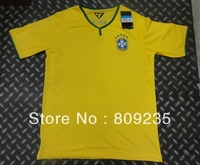 ^_^ 2014 world cup brazil home thailand A+++ quality brasil yellow top quality soccer jerseys free shipping customized free