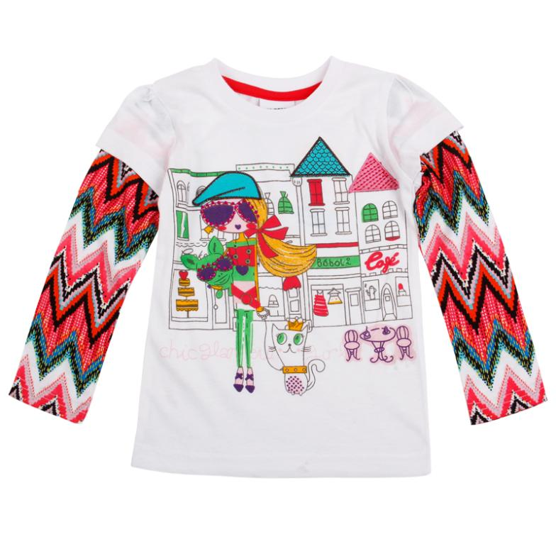 FREE SHIPPING 18m/6y 2013 girl's fashion Spring NOVA tops modern girl printed baby girls long sleeve T-shirts(China (Mainland))