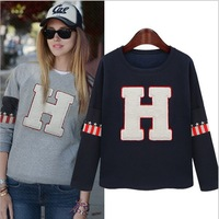 Spring 2015 new European and American women's round neck long-sleeved H letter fleece Sweatshirts