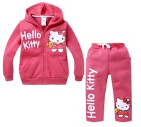 1pcs Retail,Hot,Children's set girls cartoon clothing hello kitty fashion set,velvet hoodies + pants, children clothes sets suit