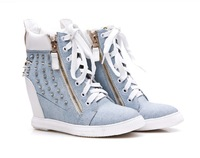 New Fashon Women's 8CM Height Increase Women's Sneaker, Lady's Elevator Shoes  Lace Up Side Zipper DHS7