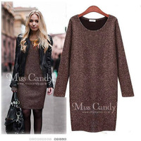 NEW!Autumn and winter warm women's acrylic bottomed dress ladie's evening clothes party girl long sleeve sweater dresses