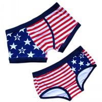 american flag cartoon panties male trunk 100% lovers cotton panties trigonometric
