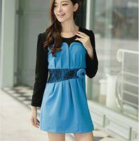 1434 m plus size plus size clothing new arrival autumn and winter color block gentlewomen plus size one-piece dress ol elegant
