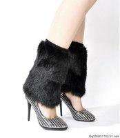 Fur booties boot covers fur boots set ankle sock leg cover wool socks over-the-knee wool socks shoes oversleeps leg wormers