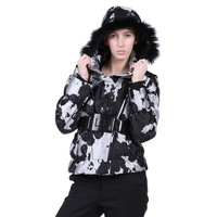 Cotton-padded jacket with a hood fur collar print thickening wadded jacket cotton-padded jacket outerwear 9327
