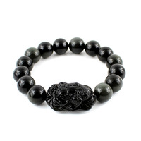 Gift three legged toad 3a natural obsidian bracelet 12mm certificate girlfriend gifts